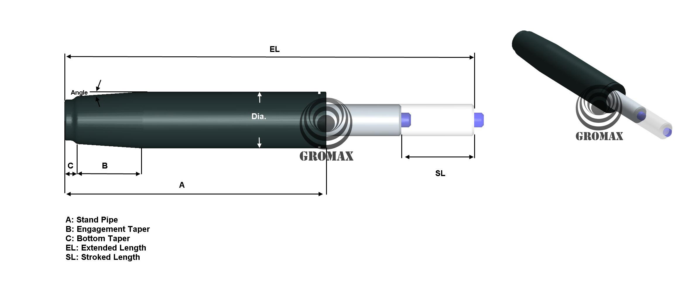 Gromax Office Chair Gas Lift